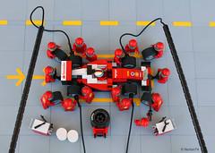 Ferrari F1 Pit Stop - part 1 (Andrea Lattanzio) Tags: ferrari scuderiaferrari forzaferrari speedchampion f1 pitstop norton74 lego legocar monza spa sf scuderiaferrarisf16h sf70h minifigure race racing vettel foitsop