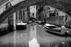 Secondary road in Venice (www.holgersbilderwelt.de) Tags: venezia italia light water travel street architecture art urban italy building reflection island europe monochrome way fine shadow abandoned classic scenic historic culture traditional decay perspective tradition gothic waterscape alley schwarzweiss palazzo canale canaletto barca boat ponte brigde bianconero