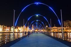Willemstad Curacao Queen Emma Bridge by night