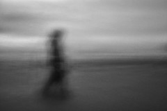 ghost walker (Dr Kippy) Tags: mono monochrome croydebay beach sea seaside icm intentionalcameramovement canon7d sigma1750mmf28 nd1000 walker ghostly