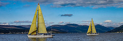 Twins (Brian Travelling) Tags: yacht yachts twins firthofclyde mountains scotland panoramic pentaxkr pentax pentaxdal