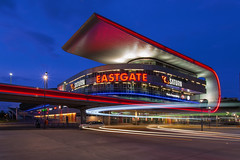 Eastgate-Center Berlin (Nelofee-Foto) Tags: berlin blue hour shoppingcenter germany marzahn east eastberlin architecture outdoor dusk lighttrails movingtrails illumination light sky builtstructure modern buildingexterior neon nopeople noflash