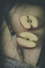 An Apple Today (suzanne~) Tags: apple fruit tabletop vignette analogefex knife board stilllife food cut
