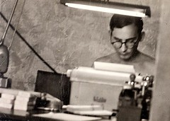 Me in Vietnam, 1967; An Loc, Binh Long Province (A CASUAL PHOTGRAPHER) Tags: portraits men johnlbeck vietnam vietnameseconflict vietnamwar americanwar typewriters lamps soldiers militarypersonnel typing