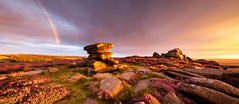 Over Owler (J C Mills Photography) Tags: peakdistrict derbyshire landscape sunset light sky clouds rainbow heather overowlertor hathersage panorama flowers ponk purple golden england