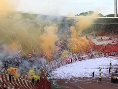 Crazy supporters making a mess before matchstart!