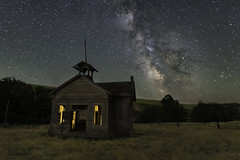 Light of the New Moon (Flint Roads) Tags: milkyway palouse usa wa washington abandoned cupola decay deteriorated forsaken lightpainting lonely night nightsky school schoolhouse
