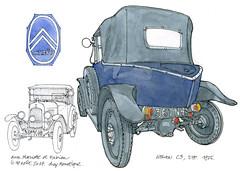 Citroën C3, 1925 (gerard michel) Tags: citroën culdepoule auto ancêtre sketch croquis aquarelle watercolour
