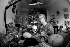 Arduino Cyborg (Apionid) Tags: inventor workshop cyborg pumpkin den selfportrait film fm2n fisheye rollei retro400s monochrome werehere hereios nikon zenitar16mm