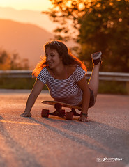 Surfing or longboarding?! (Petar Milev) Tags: sunset sunrise gold golden momment yellow red orange mountain road surfing longboarding swiming snickers girl smile happy summer trip shortys fun friends joy hot day forest woods trees stripes black siluet shadows