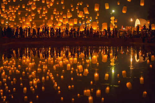 Flying Sky Lantern on Yeepeng festival