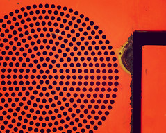 rusty orange (Rino Alessandrini) Tags: backgrounds pattern metal hole abstract metallic steel plate grid technology industry textured ironmetal material backdrop arrugginito abbandonato cerchio foro arancione rusty abbandoned geometry