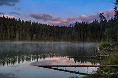 Sunrise on Herbert Lake (Bob C Images) Tags: sunrise mountains herbertlake lake water reflection woods trees forest clouds sky landscapes canada alberta travel sony a7rii