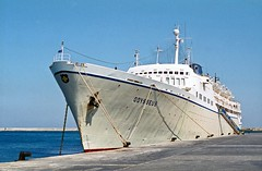 Cruise Ship, Rhodes, July 1995 (David Rostance) Tags: odysseus epirotiki cruiseship rhodes greece