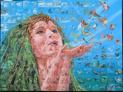 Mother Nature Sowing the Seeds of Life (Shelley Penner) Tags: artwork canvass acrylics shelleypenner wildlife mothernature mosaic painting tiled animals originals