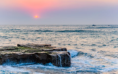 Sunrise Rock Platform Seascape (Merrillie) Tags: daybreak rockshelf sand landscape northavocabeach headland avocabeach sunrise newsouthwales rocks centralcoast nsw earlymornings beach scenery sea rocky dawn seascape nature outdoors waterscape rockplatform coast water australia