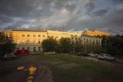 Sunset near the Lubomirski Palace (Adam Nowak) Tags: reflection warm orange