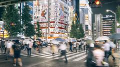 The Akihabara Rainy Shuffle (リンドン) Tags: 秋葉原 東京 日本 雨 道 ニコン 交差点 akihabara tokyo japan street photography nikon d800 tamron 35mm vc night rain crossing people handheld slow shutter