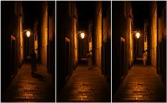 Old Town night walk (www.instagram.com/matejduzel/) Tags: night walk august summer old town stari grad hvar croatia adriatic island stone tungsten woman girl walking lamp light soft warm collage leica lumix panasonic gh4 m43 micro four thirds golden shadow