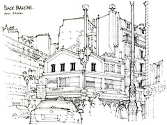Paris, place Blanche (gerard michel) Tags: france paris place architecture sketch croquis