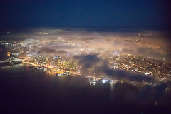 Embarcadero Clouds (Chris Saulit) Tags: aerial fly flying aviation airplane san francisco embarcadero dusk night blue hour fog clouds city glow