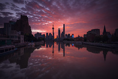 Shanghai Lujiazui during Sunset  . . (pascal-k) Tags: shanghai shanghaipudong lujiazui city cityscape asiancity sunrise morning skyscraper asia china chinese sky cloud reflection skyline