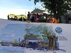 En dessinant Le Zat, restaurant à Saint-Leu (P h i l de couleur) Tags: aquarelle encre reunion reunionisland plage sketch croquis lagoon beach watercolor restaurant
