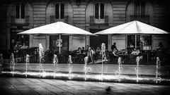 J'ai chaud ! (Fred&rique) Tags: lumixfz1000 raw photoshop ville dijon place architecture bar parasols hdr pigeon fontaine cafe eau nb
