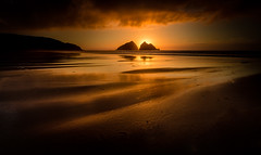 Golden Sunset (Mick Blakey) Tags: shoreline goldenhour sand sunset cornish cliffs holywellbay yellow twilight tide cscapeart orange clouds cornwall shadows sun contrast sea beach silhoette dreamy coastal goldenlight golden seascape dusk coast mickblakey surreal