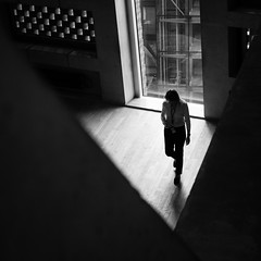 ** (donvucl) Tags: tatemodern figure newwing lightandshade composition bw blackandwhite interior olympusem1 donvucl geometry architecture squareformat london