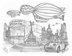 Pickadilly (rod1691) Tags: bw scifi grey concept custom car retro space hotrod drawing pencil h2 hb original story fantasy funny tale automotive art illistration greyscale moonpies sketch