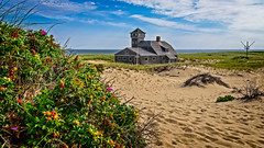 Old Harbor Life-Saving Station (Brett of Binnshire) Tags: capecod usa building flowers plants water highdynamicrange massachusetts shoreline weather ocean clouds sanddunes hdr lrhdr capecodnationalseashore provincetown beach tower locationrecorded scenic lightroomhdr architecture historicalsite manipulations fruit historicbuilding racepoint