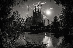 Fantastical........ (Dafydd Penguin) Tags: sagrada familia explore hurch chapel cathedral place worship antoni gaudi architechture building urban water park architect world heritage site barcelona catalan spain city town balckandwhite black white blackwhite bw monochrome nikon df nikkor 16mm f28d fisheye