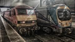 Leeds Scene (_J @BRX) Tags: db class90 red 90036 leedscitystation leeds yorkshire england uk classictraction dbs virgin train locomotive driverjackmills tpe class185 185119 hdr iphone