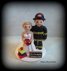 Firefighter and Teacher Wedding Cake Topper (Trina's Clay Creations) Tags: art sculpture clayfigure claycaketopper weddingcaketopper wedding whimsical weddingcake weddingdecor caketopper customcaketopper trinasclaycreations trinaprenzi topper polymerclay personalized brideandgroom groomscake figurine firefighter fireman bunkergear teacher book apple chalkboard