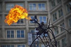 spitfire (gnarlydog) Tags: berlin street sculpture fire city urban manualfocus vintagelens bokeh kodakcine50mmf16 windows building swirly