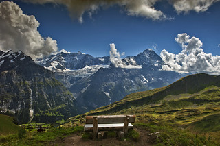 The lonley bench in front of the the mighty Eiger . Trift near Bachalpsee . (Grindelwald, Canton of Bern Switzerland ).Izakigur 22.08.15, 15:19:15 No. 8986.
