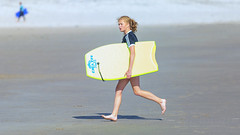 Surf is up ..... (Frank Fullard) Tags: fullard surf surfboard sea atlantis ocean achill mayo irish ireland sand sport marine color colour yellow portrait sportswoman