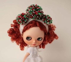Blythe hat, Christmas doll hat with pom poms, White cap with red green white pompoms.