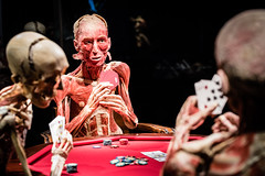 Body Worlds (Robrobrobert123) Tags: body worlds poker game nikond750 sigma85mmart14 museum los angeles art photography california science center candid portrait cards flesh muscles skeleton dark death immitating life