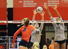 Beating the block (RPahre) Tags: volleyball b1g pac12 huffhall huff champaign illinois colorado cu universityofcolorado universityofillinois block swing kill bethprince brynnadeluzio naghedeabu