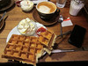 Waffles and a latte