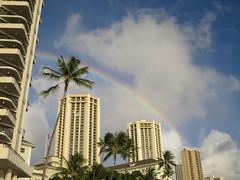 rainbow over Waikiki (kenjet) Tags: oahu hawaii tropical island vacation waikiki waikikibeach weather day cloudy rainbow arch pretty buildings