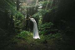 Oracle (Furcifer07) Tags: forest wales woods green moss trees tree horns ent fantasy creature concept conceptual portrait portraiture llyn crafnant sun beams light lorenschmidt canon 5d mark iii white woodland oracle myths mythology