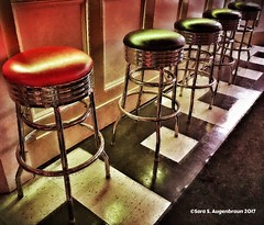PTown Bar Stools (augenbrauns) Tags: painterly capecod phototoasterapp enlightapp snapseed indoors green red barstools bar provincetown ptown