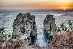 Beirut, Lebanon, sunset by the sea (Pejasar) Tags: mediterranean shore beirut lebanon rocky sunset sun sky