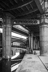 pillars (petdek) Tags: street manchester urban people reflection geometry bikes industrial bridge manchesterthroughmyeyespotd