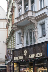 Bohemian Jewelry Store and Balcony Prague (Barbara Brundage) Tags: bohemian jewelry store balcony prague january 2017 czech republic