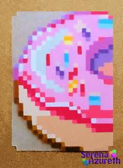 SerenaAzureth_ATC_Donut2 (SerenaAzureth) Tags: serenaazureth perler hama bead sprite mini atc artist trading card swapbot swap bot pixel donut doughnut frosted sprinkles yummy food snack treat pink