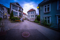 Streets of Bergen, Norway (Paulius Bruzdeilynas) Tags: bergen norway norge norwegian city street houses oldhouses evening summer sunset bluehour sony sonyalpha sonya7ii